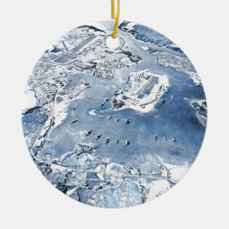 Southward Overhead View Pearl Harbor Ceramic Ornament
