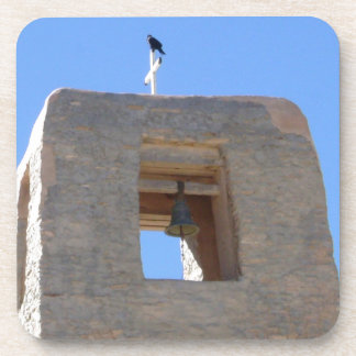 Southwest Adobe Bell Tower With Bird Ontop Drink Coasters