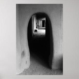 Southwest Adobe Passage: Black & White Photo Print