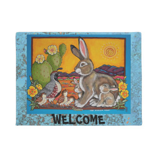 Southwest Animal Welcome Turquoise Quail Rabbit Doormat