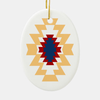 Southwest Aztec Native American Tribal Design Ceramic Oval Ornament