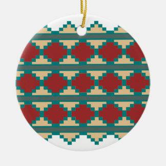 Southwest Aztec Tribal Indian Design Round Ceramic Ornament
