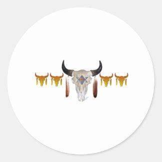 Southwest Buffalo Skull Round Sticker