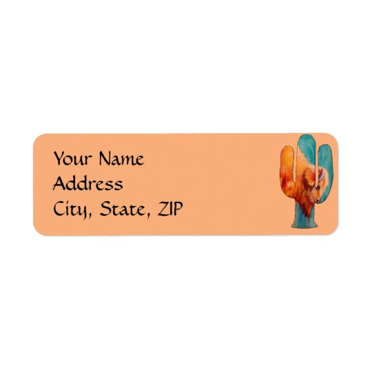Southwest Cactus and Buffalo Return Address Label