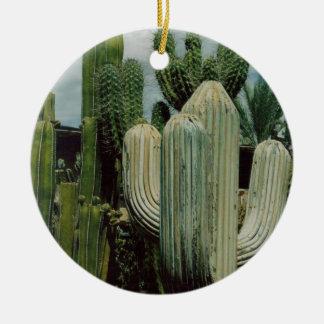 Southwest Cactus Round Ceramic Ornament