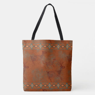 Southwest Canyons Elk Petroglyph Tote Bag