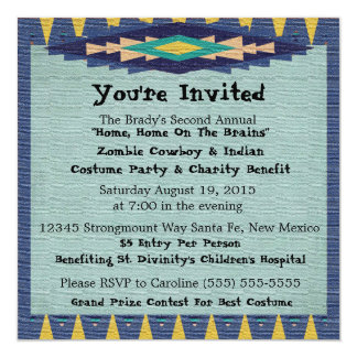 """Southwest Charity Gala Cowboy Theme Party - 5.25"""" Square Invitation Card"""