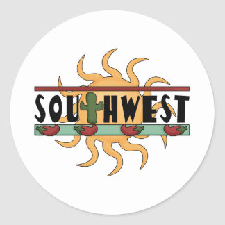 Southwest - Chili Peppers & Sun Classic Round Sticker