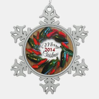 Southwest Christmas Hot Pepper Wreath Pewter Snowflake Ornament