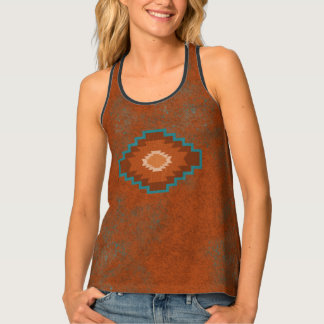 Southwest Copper Diamond Tank Top