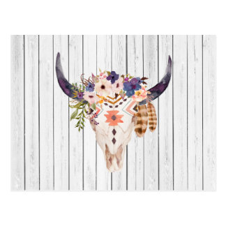 Southwest Cow Skull Tribal Markings and Flowers Postcard