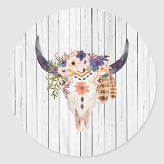Southwest Cow Skull Tribal Markings and Flowers Round Sticker