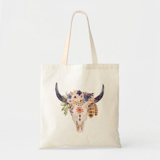 Southwest Cow Skull Tribal Markings and Flowers Tote Bag