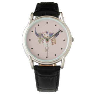 Southwest Cow Skull Tribal Markings and Flowers Watch