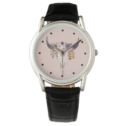 Southwest Cow Skull Tribal Markings and Flowers Wrist Watch
