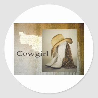 Southwest Cowgirl Lace Boot Hat Round Sticker