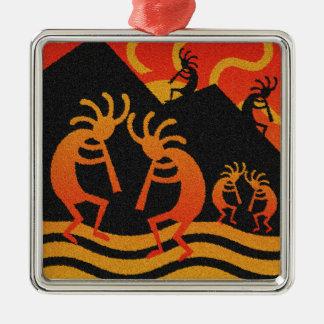 Southwest Desert Sunset Kokopelli Silver-Colored Square Ornament