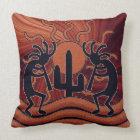 Southwest Design Kokopelli Desert Sun Cactus Throw Pillow