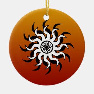 Southwest Design Tribal Sun Round Ceramic Ornament