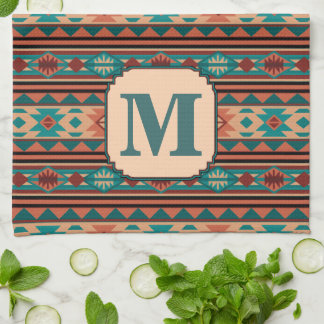 Southwest Design Turquoise Terracotta Monogram Kitchen Towel
