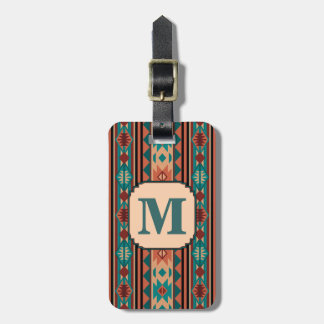 Southwest Design Turquoise Terracotta Monogram Luggage Tag