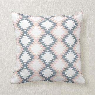 Southwest Diamond Zigzag Blush Gray Throw Pillow
