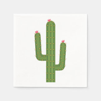 Southwest Floral Green Cactus Pink Flower Wedding Disposable Napkins
