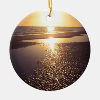 Southwest Florida Sunset Round Ceramic Ornament
