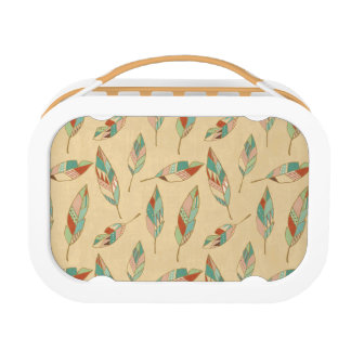 Southwest Geo Step | Coral Feather Pattern Lunch Box