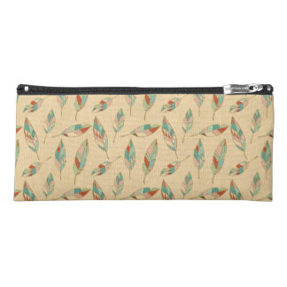 Southwest Geo Step | Coral Feather Pattern Pencil Case