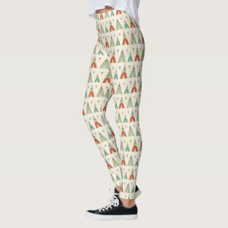 Southwest Geo Step | Geometric Teepee Pattern Leggings