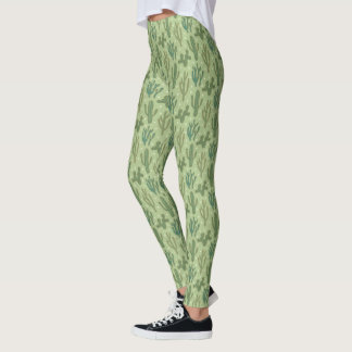 Southwest Geo Step | Green Cactus Pattern Leggings