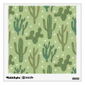 Southwest Geo Step | Green Cactus Pattern Wall Sticker