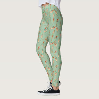 Southwest Geo Step | Green Feather Pattern Leggings
