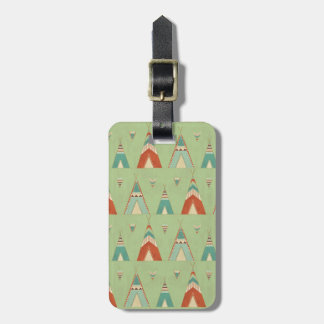 Southwest Geo Step | Green Teepee Pattern Luggage Tag