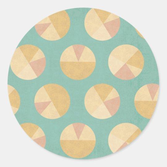 Southwest Geo Step | Orange & Green Circle Pattern Classic Round Sticker