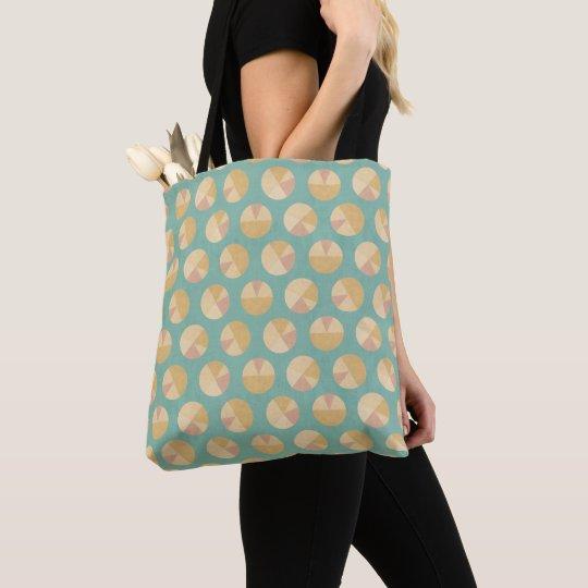 Southwest Geo Step | Orange & Green Circle Pattern Tote Bag