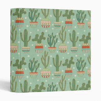 Southwest Geo Step   Potted Cactus Pattern 3 Ring Binder