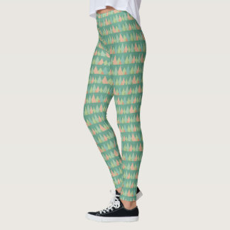 Southwest Geo Step | Teal Triangle Pattern Leggings