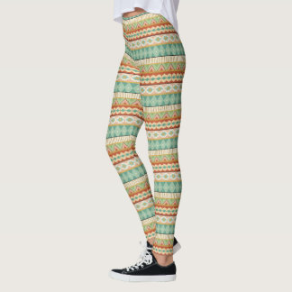 Southwest Geo Step | Watercolor Tribal Pattern Leggings
