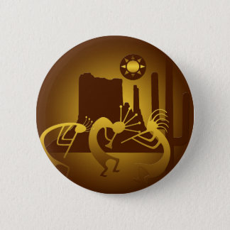 Southwest Kokopelli in Bronze and Gold 2 Inch Round Button