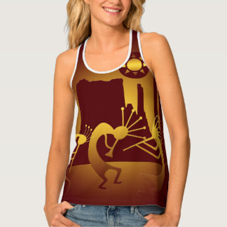 Southwest Kokopelli in Burgundy and Gold Tank Top