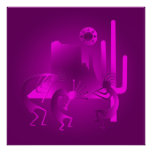 Southwest Kokopelli in Purple Poster