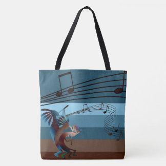 Southwest Kokopelli Music All-Over-Print Lg Tote