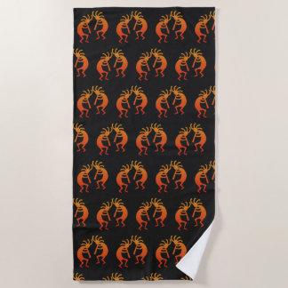 Southwest Kokopelli Pattern Orange And Black Beach Towel