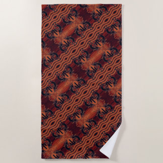 Southwest Kokopelli Pattern Orange Black Pattern Beach Towel
