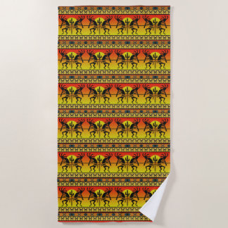 Southwest Kokopelli Pattern Orange Black Yellow Beach Towel