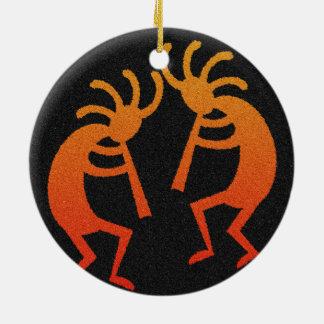 Southwest Kokopelli Round Ceramic Ornament