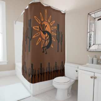 Southwest Kokopelli Sun Rustic Shower Curtain