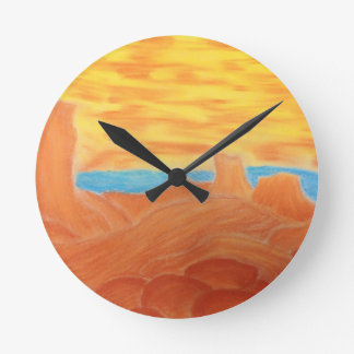Southwest Landscape Chalk Drawing Round Clock